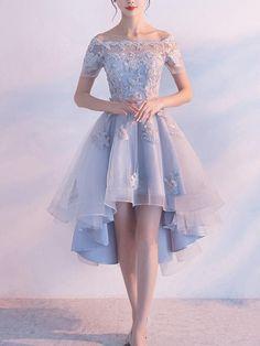 Light Blue Homecoming Dresses, Sexy Homecoming Dresses, Homecoming Dresses Short, Prom Dress Blue, Prom Dress A-Line Light Blue Homecoming Dresses, High Low Prom Dresses, Cute Prom Dresses, Tulle Prom Dress, Sexy Dresses, Dress Party, Dress Lace, Blue Dresses, Sleeve Dresses