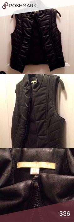 Gianni Bini Black Leather Puffer Vest Gianni Bini Black Leather Puffer Vest Never Worn Gianni Bini Jackets & Coats Vests