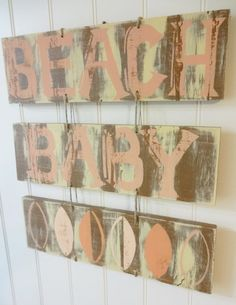 Beach  Baby Nautical Nursery Surf Sign by MeetMeByeTheSea on Etsy, $69.95