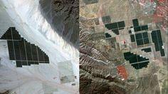 The Desert Sunlight solar project (left) gleams like a jewel in California's Mojave Desert on March 12, 2015. Topaz Solar Farm (right) rests on the Carrizo Plain of California