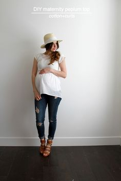 This is a perfect little feminine top for your any day wear! And you can make it with a stretchy fabric or a cotton fabric. I'm in love with how comfortable and feminine it is, it flatters the belly a