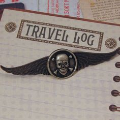 Steampunk Airship Pirate Skull and Crossbones Winged Pin