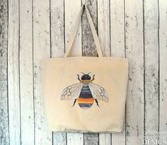 #Bumble Bee Large Canvas Tote Bag Reusable Shopper Bag Cotton Tote Shopping Bag Eco Tote Bag Ceridwen Hazelchild Design