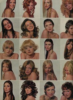 1970's hairstyles, seventeen magazine vintage fashion color photo print ad models magazine designer hair trends 70s