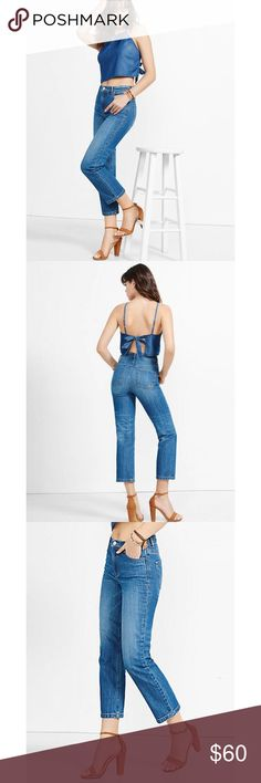 "Express high-rise straight crop jeans 👖 Express high-rise straight cropped jeans. Medium wash. Runs small. I'm normally a size 8 and had to size up! Inseam 26"" and waist 16"". Express Jeans"