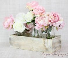 Peonies and Roses in Mason Jars #rusticwedding centerpiece