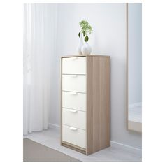 IKEA ASKVOLL chest of 5 drawers Smooth running drawers with pull-out stop.