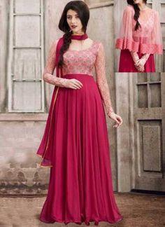 f4b004374b Pink Embroidery Work Georgette Chiffon Designer Fancy Long Anarkali Suit. Buy  online shopping salwar kameez at - Chennai.