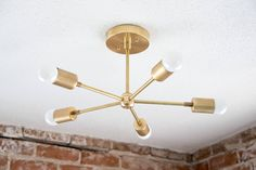 Free Shipping! Modern Chandelier Gold Five 5 Arm Pinwheel Bulb Brass Sputnik Mid Century Semi Flush Industrial Hanging Light UL Listed by IlluminateVintage on Etsy https://www.etsy.com/listing/238343370/free-shipping-modern-chandelier-gold