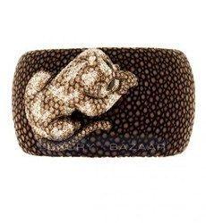 de Grisogono Attractive 18K Blackened White Gold Bijoux Galuchat Diamond and Gemstone Cuff Bracelet