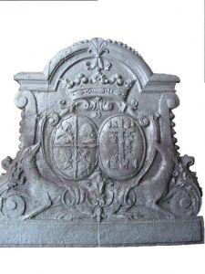"""Plaque cheminée """"Double blason et levriers"""" - FV 42"""