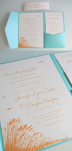 This pocket fold invitation set features an elegant beach theme. This invite can be illustrated to match your unique beach wedding destination -