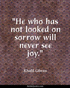 He who has not looked on sorrow will never see joy.