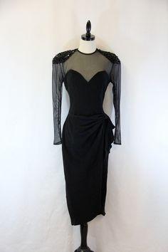 1980s 80's Vintage Dress Black Illusion by EightiesLadies on Etsy, $94.00