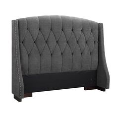 Cozy Tufted Headboard Ideas: The Grey Sophia Button Tufted Wingback Headboard For Mid Century Bedroom Decor King Size Upholstered Headboard, Bed Headboard Design, Wingback Headboard, Bedroom Furniture Design, Headboards For Beds, Upholstered Furniture, Bed Furniture, Bed Design, Bedroom Decor