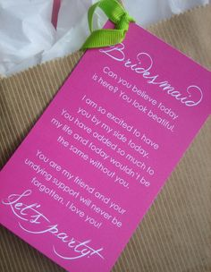 Bridesmaid Thank You Card. I'd make it more personalised, but overall, it's such a cute idea!