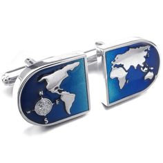 KONOV Jewelry 2pcs Rhodium Plated Men's World Map Shirts Cufflinks, Wedding, Color Blue Silver, 1 Pair Set