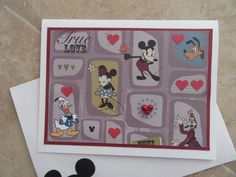 TRUE LOVE Vintage Mickey & Minnie Card by PatsPaperCrafts on Etsy