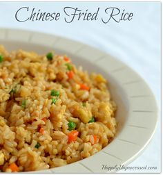 You will never believe how easy it is to make fried rice at home. Brown rice, onions, carrots, peas, garlic, and soy sauce with step by step instructions.