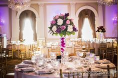 Purple and White floral centerpieces at the Rockleigh Country Club