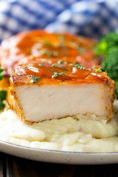 A cross section of a honey garlic pork chop served on mashed potatoes. Pork Chop Recipes, Healthy Crockpot Recipes, Slow Cooker Recipes, Cooking Recipes, Skillet Recipes, Chicken Recipes, Honey Garlic Pork Chops, Sandwiches, Boneless Pork Chops