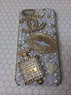 Kawaii White and Gold Chanel Logo Iphone 5/ 5S by QueenBDsign, $50.00