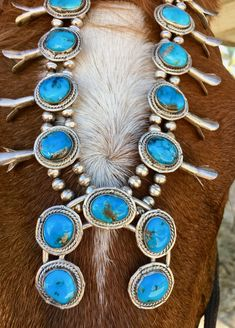 Navajo Squash Blossom Necklace with Blue Turquoise Sterling Silver Vintage