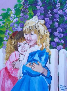 A painting I did of little girls who are sisters. Done in acrylic on stretched canvas.