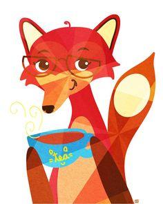 Fox Tea Animal Portrait 8X10 Art Print by thepairabirds on Etsy, $20.00