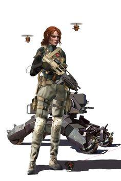 Tara geared up - with drones by ~DirkLoechel on deviantART