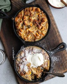 """Emma Brink Rask on Instagram: """"Överblivna kanelbullar? Gör brödpudding! Jag kan inte förstå att jag i 40 år inte fattat att detta är livets grej! Magiskt gott och så…"""" Danish Food, Cinnamon Rolls, Paella, Camembert Cheese, Mashed Potatoes, Appetizers, Pudding, Bread, Ethnic Recipes"""