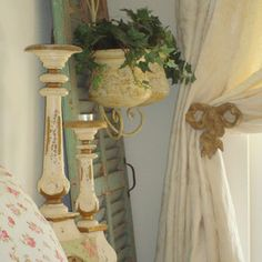 shabby chic looks gorgeous with this pretty metal bow curtain tieback!