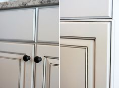 Sherwin Williams 'Snow Bound' and glazed in 'Van Dyke' stain for that dark highlight