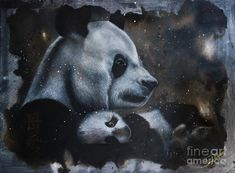Animal Painting - Mothers Love by Tanya R Unger Panda Art, Love Painting, Mothers Love, Animal Paintings, Office Decor, Fine Art, Wall Art, Animals, Animales