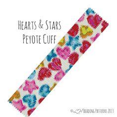 Seed Bead Bracelet Hearts & Stars Peyote by LHbeadingpatterns