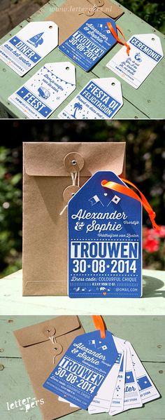 letterpers_letterpress_trouwkaart_alexander_sophie_hip_labels_blauw_oranje_bruine_envelop