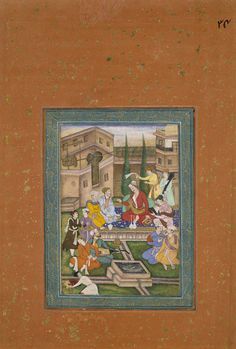 emperor akbar seated in a courtyard being entertained; Mughal Miniature Paintings, Mughal Paintings, Palaces, Emperor, Persian, Miniatures, Collections, Museum, Watercolor