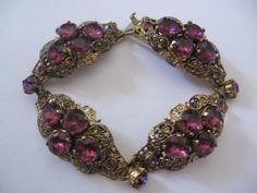 Vinatge Czech Rare Purple Glass and Brass Bracelet from vintagejewelrylounge on Ruby Lane