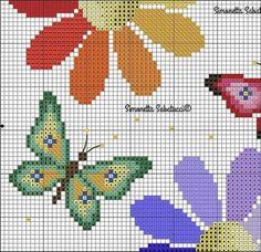 Cross Stitch Cushion, Tiny Cross Stitch, Baby Cross Stitch Patterns, Butterfly Cross Stitch, Butterfly Embroidery, Cross Stitch Borders, Cross Stitch Flowers, Cross Stitch Charts, Cross Stitch Embroidery
