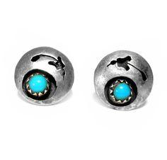 Vintage Sterling Silver Earrings, Turquoise Blue Glass, Pierced