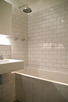#Bathroom tiled with #metro tiles and grey grout www.chiaracolombini.com Grey Grout, Metro Tiles, Classic Bathroom, Bathtubs, Bathroom Interior Design, Bathrooms, Sink, Bath, Soaking Tubs