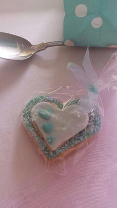 Handmade heart biscuits for my sister's wedding favours