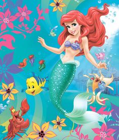 Ariel and Flounder and Sebastian with their other fish friends in under the sea Ariel Mermaid, Mermaid Disney, Disney Little Mermaids, Mermaid Princess, Ariel The Little Mermaid, Mermaid Art, Disney Love, Disney Art, Walt Disney