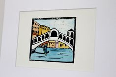 Venice original linocut print by Yoliprints on Etsy
