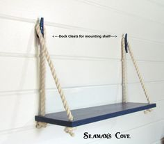 SWING ROPE SHELF Bring a nautical accent to the room while adding extra storage space. Love these shelves! This Sturdy Shelf is completely