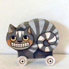 The Cheshire Cat Contemporary Folk Art Doll  by cartbeforethehorse, $40.00