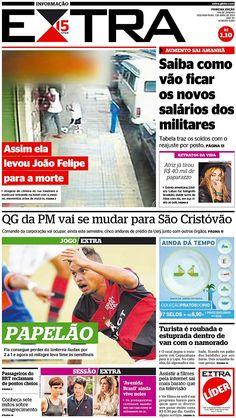 01-04-2013 - Capas do Jornal Extra - Primeira página do Jornal Extra do Rio - Extra Online