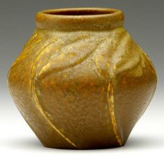 "Van Briggle Pottery - Tobacco Leaves Vase. Carved & Matte Glazed Pottery. Colorado Springs, Colorado. Circa 1906. 4-1/2"" x 4-3/4""."
