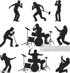 Rock band singing playing guitar and. Drum Drawing, Drawing Rocks, Guitar Drawing, Stick Figure Drawing, Figure Sketching, Music And The Brain, Manga Poses, Newspaper Art, Music Crafts