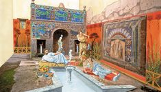 Reconstruction of the summer triclinum of the House of Neptune and Amphitrite. Herculaneum.